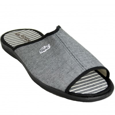 Vulcabicha 4424 - Men's Summer Cotton Slippers Plain In Gray or Blue With Crocodile