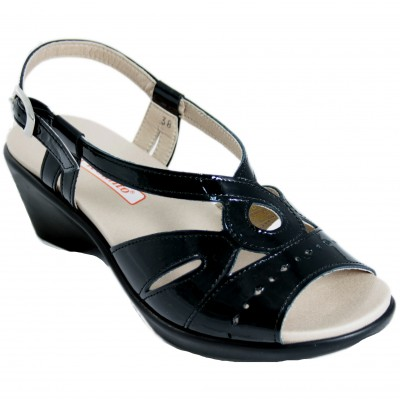 Pie Santo 190852 - Black Pebbled Leather Sandals With Removable Insole Heel