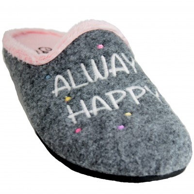 Cabrera 3067 - Heather Gray Open Sneakers with Always Happy Text With Shining Star and Moon
