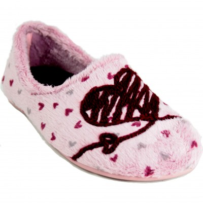 Cabrera 3083 - Furry Soft Closed Slippers With Wool Forming A Heart and Love