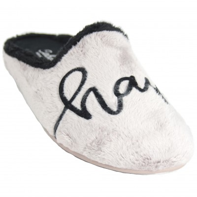 Cabrera 3050 - Soft Beig Furry Slippers with Happy Word and Red Flower