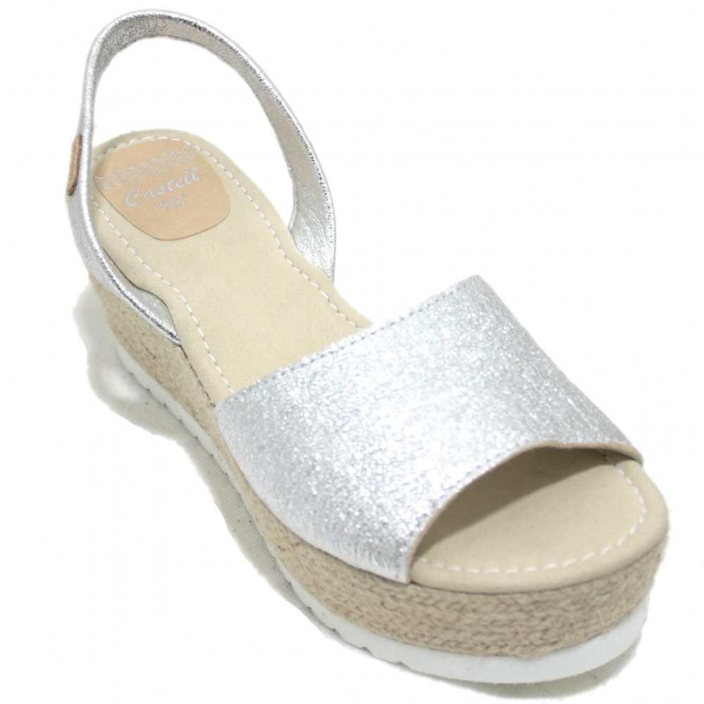 Castell 1910 Vico - Abarca Menorquines with Wedge and Esparto Platform in Silver Color