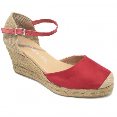 KonPas 1553 10-5 Blood - Red Leather Espadrilles with Comfortable Bracelet and Wedge