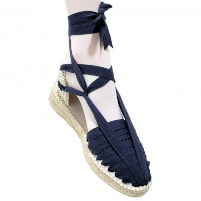 Mid Heel Espadrilles Pintxo or Set Vetes Navy Blue
