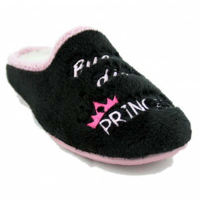 KonPas 705 - Soft Black and Pink House Slippers with Good Morning Princess Message