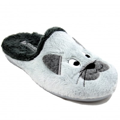 Vulcabicha 4354 - House Slippers with Cat Face and Gray Whiskers