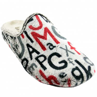 Vulca Bicha 1821 - Modern Living Room Slippers Man with Letters in Black Red and Gray Colors