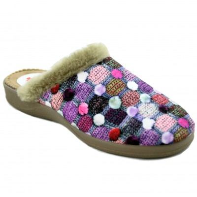 Ruiz y Gallego 825 - Women's House Slippers With Wool Texture in Lilac Colors and Hairy Edge