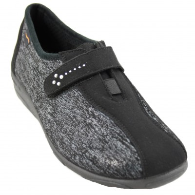 Doctor Cutillas 3686 - Lady Shoes with Side Lycra Insole with Small Memory Wedge in Black and Lead