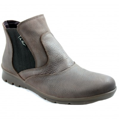 On Foot 14001 - Ankle Boots for Women Brown with Soft Comfortable Skin and Side Rubber