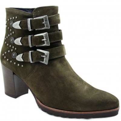 Dorking D7226 - Khaki Woman Ankle Boots with Metal Tacks and Three Decorative Buckles