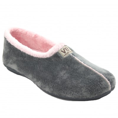 Vulcabicha 4306 - Women's Shoes Closed Soft Comfortable Flat Gray and Pink Color