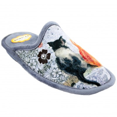 Cosdam 4565 - Flat Biorelax System Slippers with Two Cats Drawing Together
