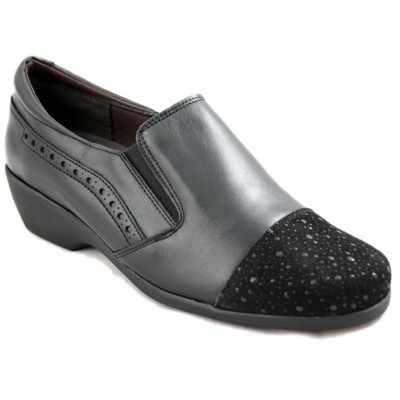 Bona Moda 97227 - Black Closed Woman Shoes with Shiny Velvet Toe Removable Insole and Side Rubber