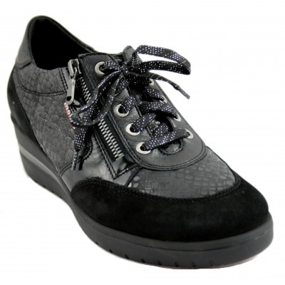 Mephisto Patrizia - Sporty Women's Shoe with High Heel and Zip Closure and Laces