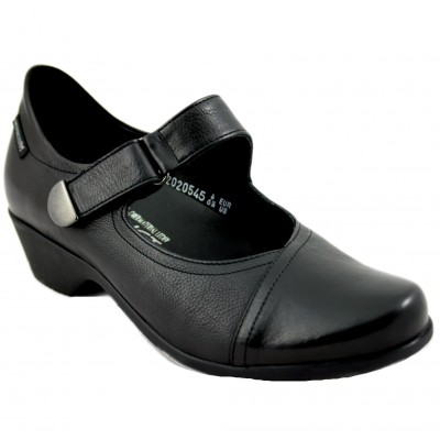 Mephisto Severine - Black Leather Woman Shoes with Low Heel and Velcro Closure