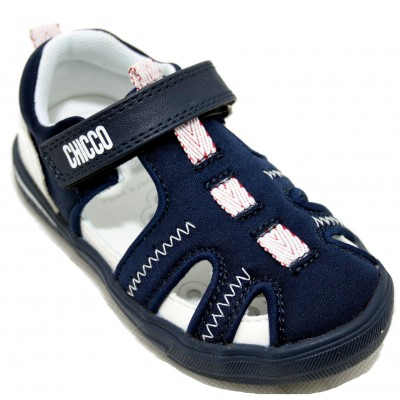 Chicco Conrad - Closed Leather Sandals with Side Openings Velcro Closure Sailor Style